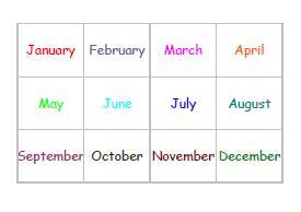 12ヶ月の歌 文字カード(英語)(A4)