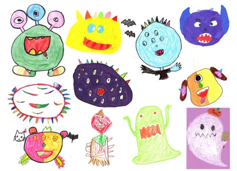 子ども達が描いたモンスターの絵